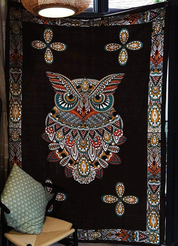 Totem Owl Wall Tapestry Tapestry