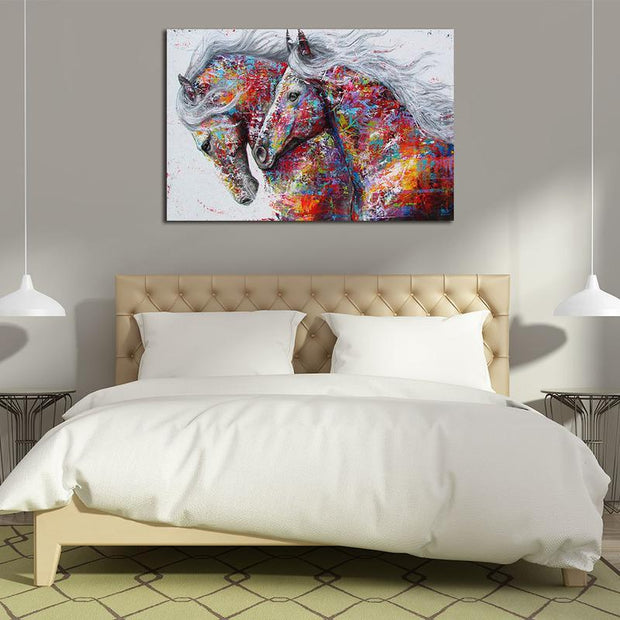 Two Horses Multicolor Canvas Art canvas
