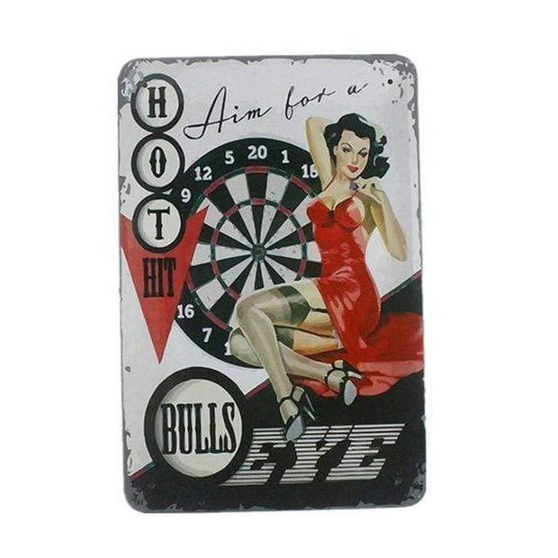 Vintage Casino Pin Up Girls Metal Signs Bulls Eye Accessories