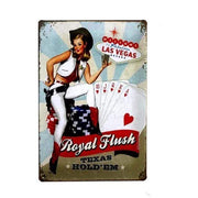 Vintage Casino Pin Up Girls Metal Signs Royal Flush Accessories