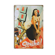 Vintage Casino Pin Up Girls Metal Signs Strike Accessories