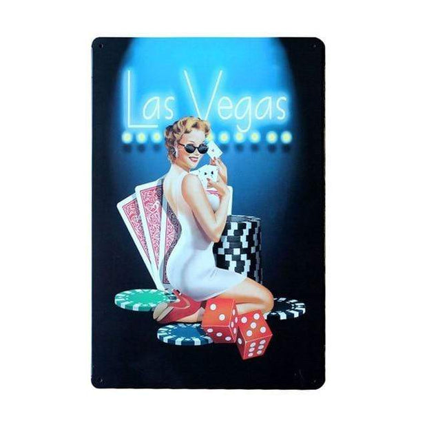 Vintage Casino Pin Up Girls Metal Signs Vegas Accessories