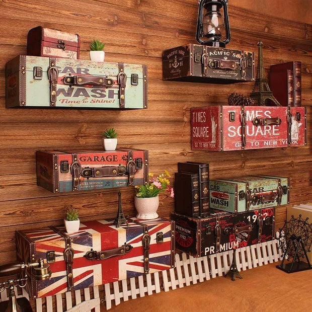Vintage Suitcase Shelves For Wall Decor Accessories