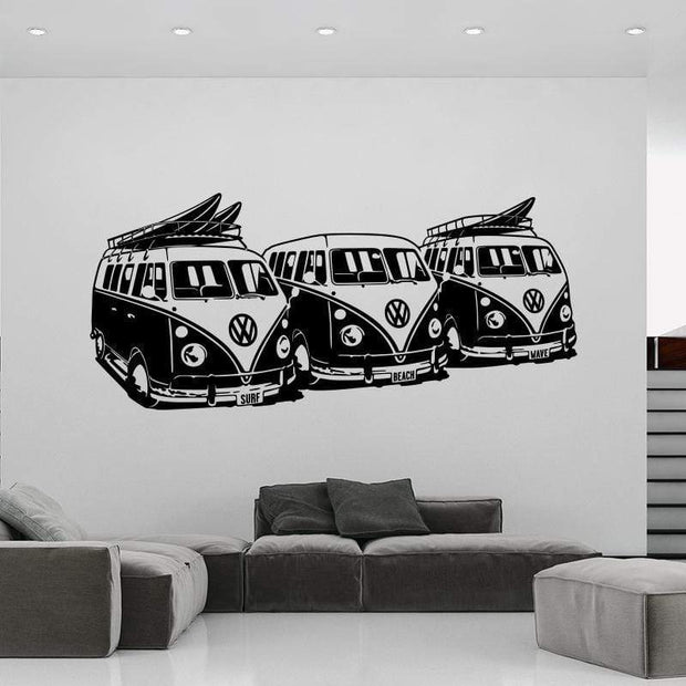 "Volkswagen Surf Vans Black / 36""x16"" Wall Sticker"
