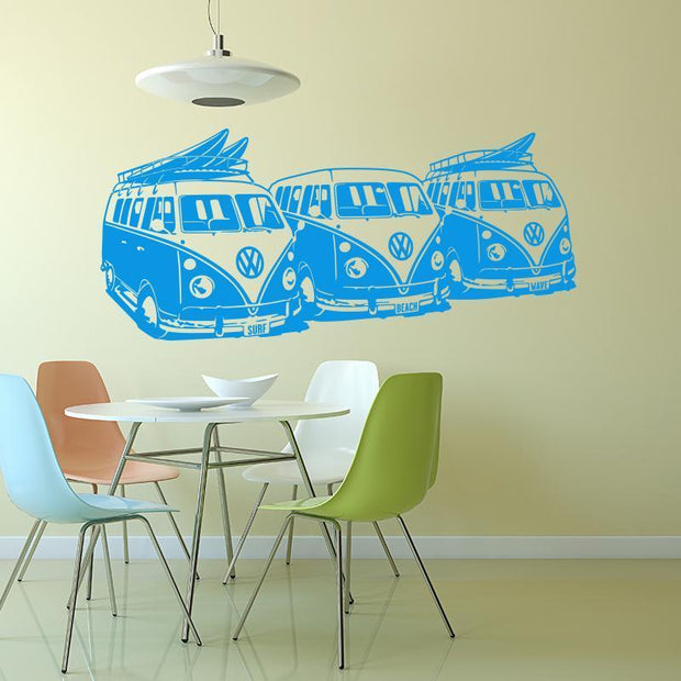 "Volkswagen Surf Vans Blue / 36""x16"" Wall Sticker"