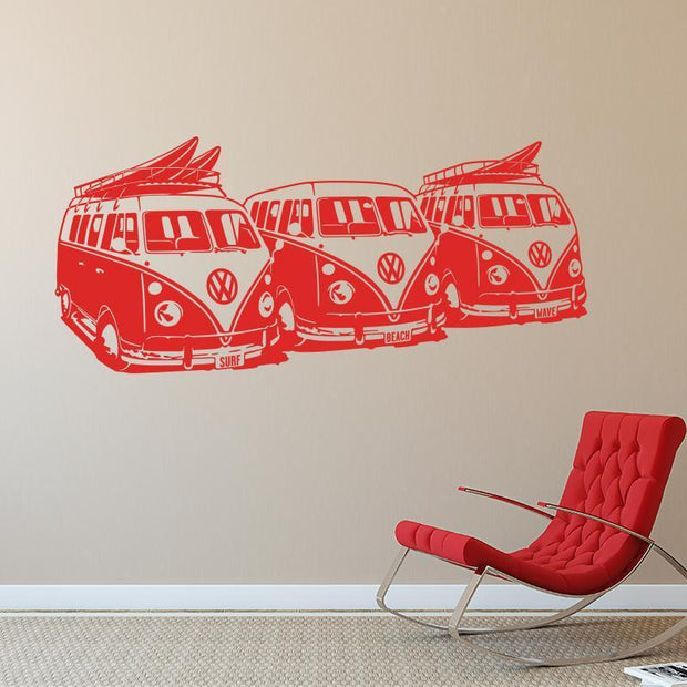 "Volkswagen Surf Vans Red / 36""x16"" Wall Sticker"