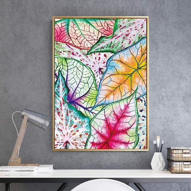 "Watercolor Leaf Poster On Canvas 20""x28"" Canvas"