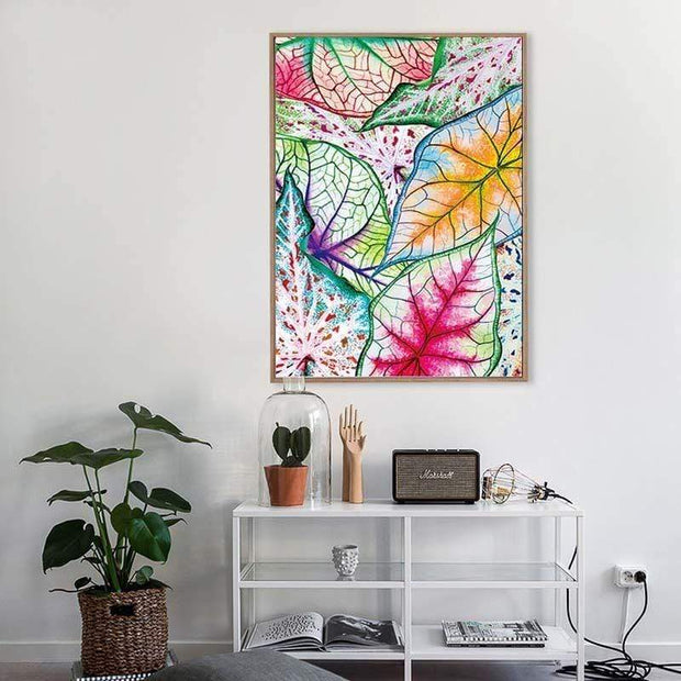 "Watercolor Leaf Poster On Canvas 24""x32"" Canvas"