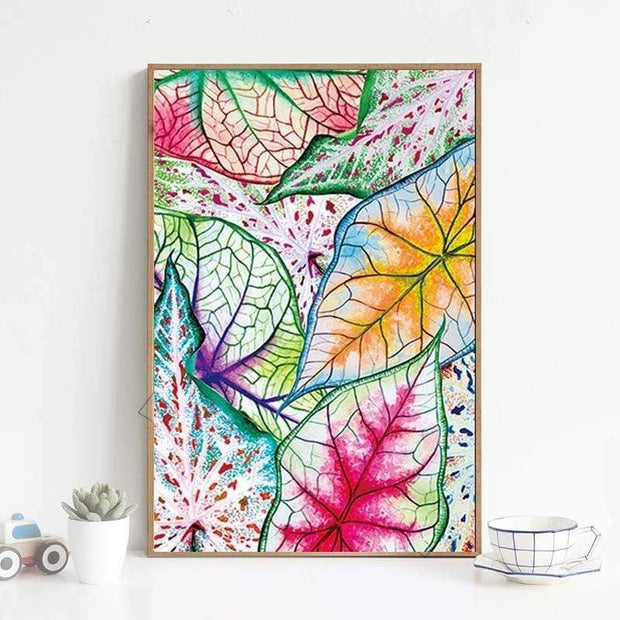 "Watercolor Leaf Poster On Canvas 4""x6"" Canvas"