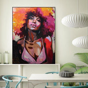 Watercolor Portrait of a Beautiful Afro Woman on Canvas canvas