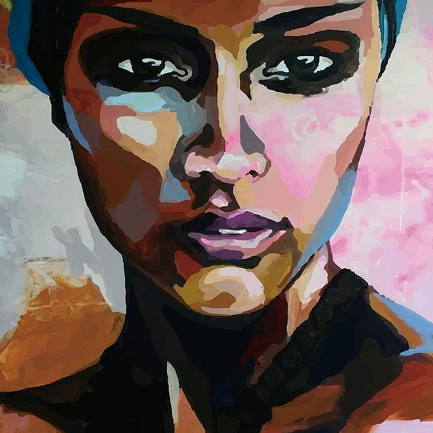 Watercolor Portrait of a Beautiful Black Woman on Canvas canvas