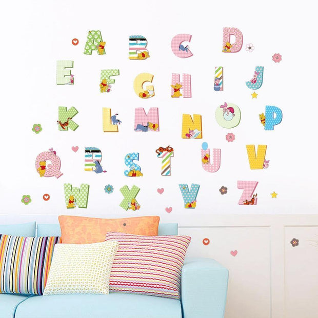 "Winnie the Pooh & Friends Nursery Wall Stickers Pooh Alphabets (36"" x 24"") Wall Sticker"