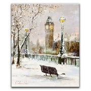 "Winter In France Painting on Canvas 16""x20"" Oil Painting"