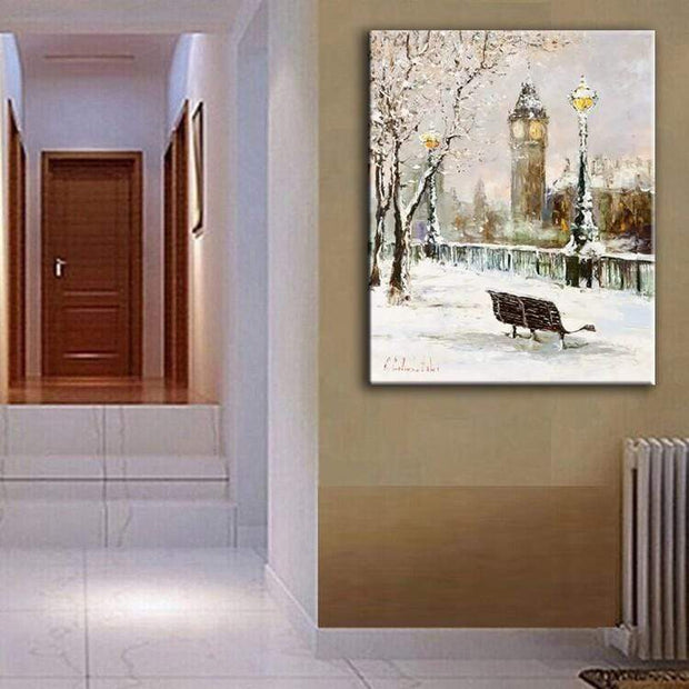 Winter In France Painting on Canvas Oil Painting