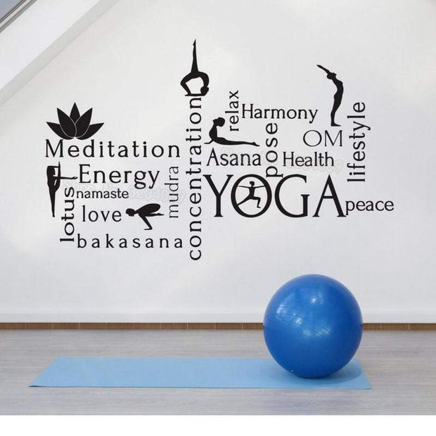 Word Cloud Wall Sticker For Yoga Room Decor Wall Sticker