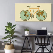 World Map on Bicycle Wheels Canvas Poster Canvas