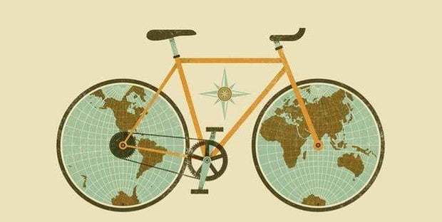 "World Map on Bicycle Wheels Canvas Poster 8""x16"" / PC7226 Canvas"