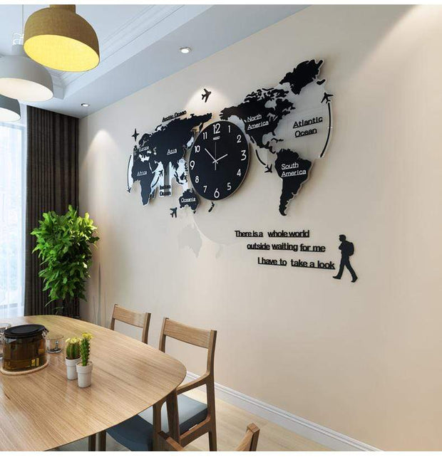 World Map Shape Wall Clock Home Accessories