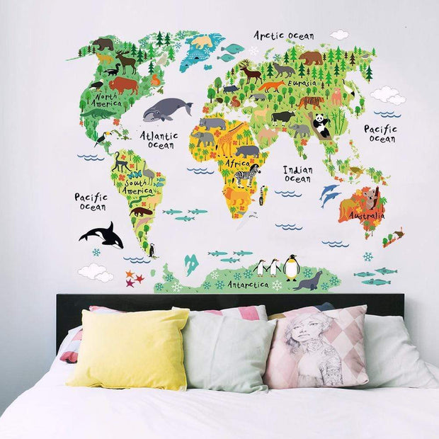 "World Map Wall Sticker With Animal Pictures 24""x36"" Wall Sticker"