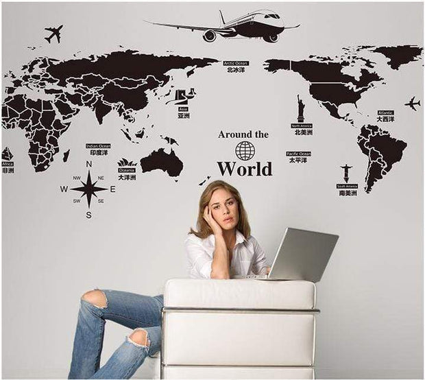"World Map Wall Stickers with Important Landmarks 52""x28"" Wall Sticker"