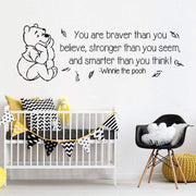 "You Are Braver Than You Believe... Winnie The Pooh Quote Wall Sticker Black / 34""x12"" Wall Sticker"