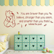 "You Are Braver Than You Believe... Winnie The Pooh Quote Wall Sticker Red / 34""x12"" Wall Sticker"