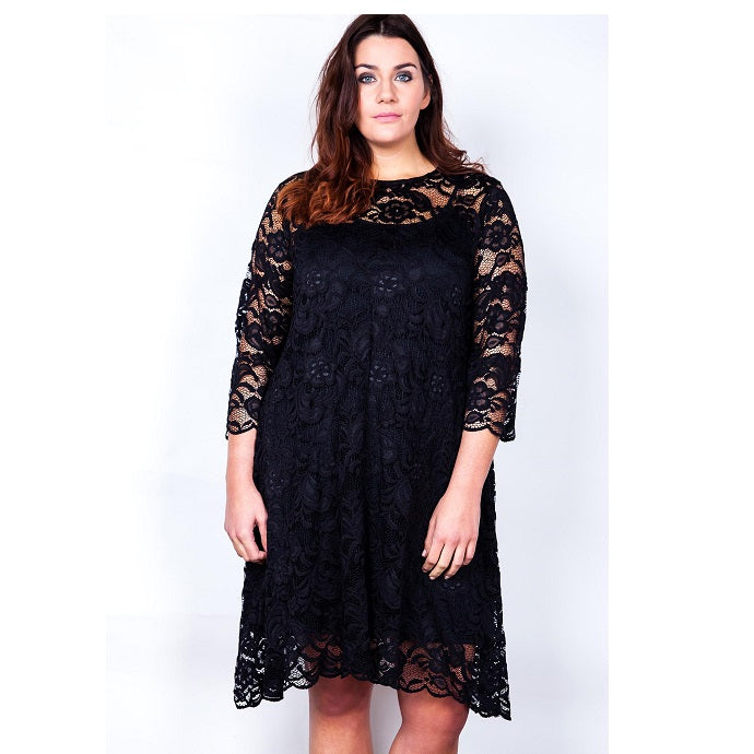 c3bb2c39784 ... Made In The UK Lace Shift Swing Dress With Three Quarter Sleeves