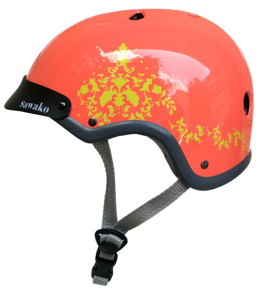 Sawako orange coral eyecandy bike helmet stylish