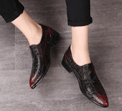 Crocodile Pattern Pointed Casual Shoes-DepotClick