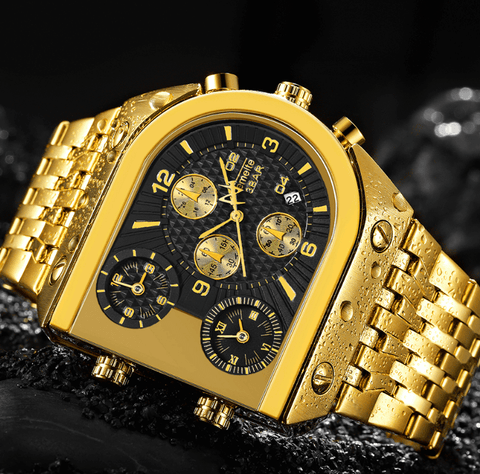 Luxury Golden Watches |3 Time Zone Date| Stainless Steel DepotClick