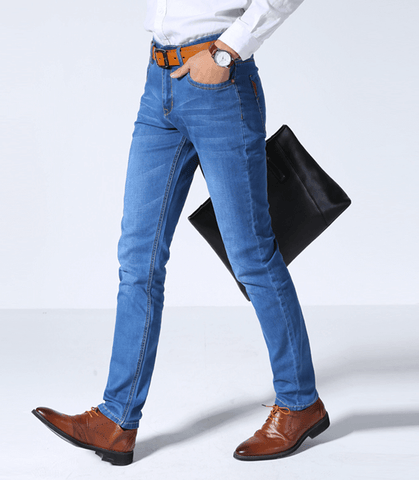 Men's Thin Light Jeans Stretch Slim-Depotclick