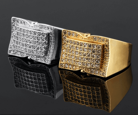 Mens Ring Square/ Silver- Gold Depotclick