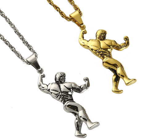 Necklace Golden Masculine Athlete | Stainless Steel DepotClick