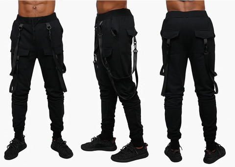 Pants Black with Straps|Joggers-DepotClick