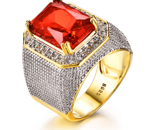 Ring Geometric| Zircon 18KT|Big Stone Red-DepotClick