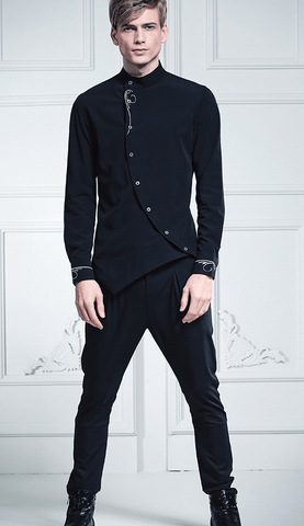 Shirt Collar Turned|Black|Asymmetry-DepotClick