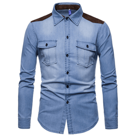 Shirt| Denim| Patchwork|Cotton-DepotClick