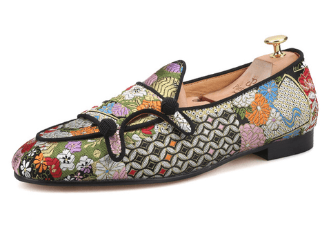 Shoes Loafers Multi Color |  Jacquard Silk Double-Monk DepotClick