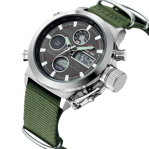 Sport Watch|Nylon Strap Green|Digital-Analog|DepotClick