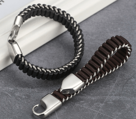 Stainless Steel Bracelet with Interlaced Leather-DepotClick