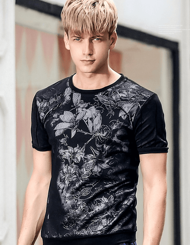 T Shirt Flowers Black Trends |  Short-Sleeved | Slim DepotClick