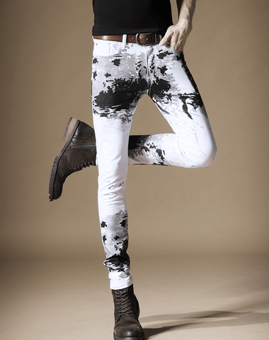 White Jeans | Street Inkjet Printed Contrast Color Tie-Dye DepotClick