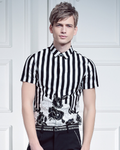 Shirt Slim Black and White |Striped | Short Sleeved | Cotton