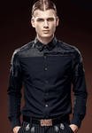 Dark Jacquard | Long Sleeved Stitching  | Slim Black Shirt