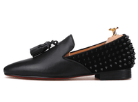 Handmade Luxury Loafer Leather and with Spikes Leather Tassels