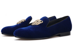 Handmade Velvet Shoes | Black-Blue | Jaguar Metal Buckle