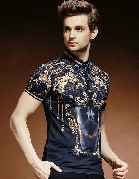 Polo Shirt|Baroque Print|Slim