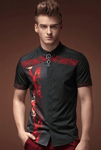 Shirt Black-Red | Spanish Design | Short Sleeve | Bamboo