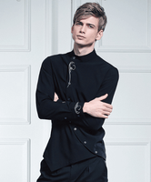 Shirt Collar Turned|Black|Asymmetry