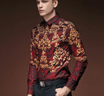 Fashion Shirt Red Wine-Gold